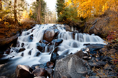 Lee Vining Waterfall (stephencurtin) Tags: california color fall yellow creek waterfall rocks spray sierra lee eastern vining thechallengefactory