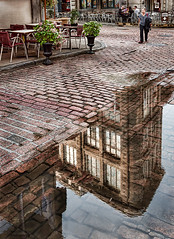 hidden city (JimfromCanada) Tags: street old reflection building brick water puddle nikon apartment upsidedown quebec smith cobblestone cobbles d90