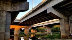 Under the Ferry Bridge (FlappinMothra) Tags: camera bridge sunset reflection minnesota ferry river us crossing phone cell samsung galaxy freeway bottoms eden prairie bloomington 169 90 mn minn 34 savage s5 corelphotopaint shakopee easyhdr