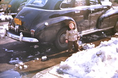 Young Laurette (And I Mean VERY Young Laurette) Standing In Front Of Her Father's Car (Laurette Victoria) Tags: winter snow newyork car queens