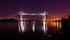 Newport Transporter Bridge (technodean2000) Tags: city uk bridge light wales night river nikon glow suspension south cymru newport transporter lightroom d5200 wyevalleyvaleofusk