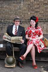 Keeping Up To Date (With Just A Click) Tags: people lady paper reading war weekend salute historic chatham to gentleman dockyard the 40's