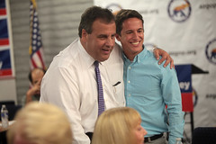 Chris Christie with supporter (Gage Skidmore) Tags: new chris party arizona phoenix phone doug bank headquarters governor jersey christie republican ducey