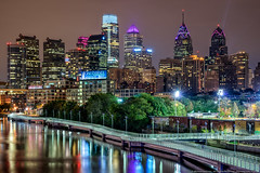 Philadelphia (mhoffman1) Tags: city longexposure urban philadelphia bikepath skyline night buildings river evening skyscrapers unitedstates riverside cloudy pennsylvania centercity path boardwalk philly hdr offices schuylkill libertyplace schuylkillriver comcastcenter photomatix schuylkillbanks a7r schuylkillbanksboardwalk