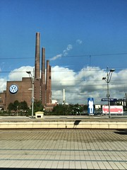 VW in Wolfsburg (wuestenigel) Tags: sky cloud himmel wolke chimneys schornsteine wolfsburghauptbahnhof