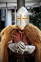 Warrior (rafa.esteve) Tags: street portrait valencia helmet streetphotography medieval sword warrior renaissancefair gauntlet middleage