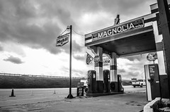 The Old Magnolia (axbecerra) Tags: old sky bw cloud white signs black alex station mobile vintage nikon pumps texas waco antique country coke gas magnolia exxon becerra d5100