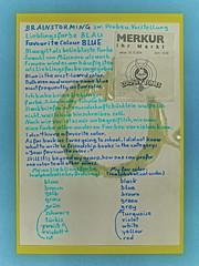 """an apple a day keeps the doctor away - An ENSO (circle) a Day ..."" 2. Oct 14: Brainstorming Fav Color Blue - Circle: Water ~ Zwischen Probe u. Vorstellung: Lieblingsfarbe Blau / Gleichberechtigung der Farben - Kreis: farblos durchsichtiges Leitungswasser"