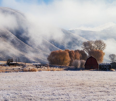 FIRST SNOW (laura's Point of View) Tags: morning autumn winter snow mountains cold barn fence farm jackson wyoming jacksonhole lauraspointofview lauraspov
