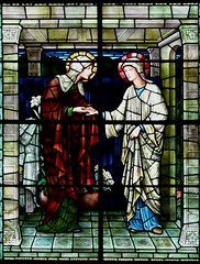 Winchester Cathedral, Burne Jones, The Visitation (jacquemart) Tags: christmas victorian stainedglass winchester preraphaelite winchestercathedral burnejones thevisitation