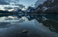 Bow Lake before sunrise (NettyA) Tags: travel canada mountains reflection clouds sunrise alberta northamerica bowlake canadianrockies 2014 crowfootmountain sonynex6