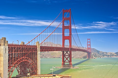 The Golden Gate Bridge in san-Francisco Remains  One of the Most Prominant American Landmarks. california, United States (DmitryMorgan) Tags: frisco marincounty sanfrancisco suspension trussarch usa america american beautiful blueskies bridge california gate gates golden goldengates historic industrial landmark lifestyle long mountains naturebackground ocean outdoors poles red renowned standing style sunny transportation travellocations unique unitedstates water worldfamous