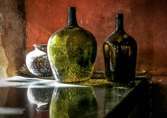Shadows and glass (kimbar/Thanks for 2.5 million views!) Tags: bottles goa india plantation reflection spicevillage reflectyourworld