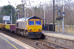 66702 at Morpeth (stephen.lewins (1,000 000 UP !)) Tags: class66 66702 bluelightning northumberland railways ecml sheds gbrf