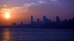 Mumbai Skyline (Perceptive Photography (500K+ views)) Tags: mumbai india travel perceptivephotography sunset sea water buildings skyline outline colorful sky city greatphotographers extraordinarilyimpressive