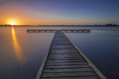 Lake wendouree sunset (Pwa25) Tags: lake lakewendouree ballarat victoria sunset pier jetty water longexposure canon canon5d3 reflections