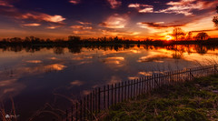 Flooded... (Kerriemeister) Tags: river ouse fulford ings sunset sundown reflection flood water fence nikond5200 sigma york north yorkshire
