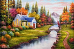 Welcome Home, Art Painting / Oil Painting For Sale - Arteet™ (arteetgallery) Tags: arteet oil paintings canvas art artwork fine arts house tree water nature old landscape rural country summer reflection outdoors green village home carbin landscapes surreal fantasy pastorals lime yellow paint