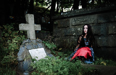 Pretty vampire near grave (GrasePhoto.) Tags: pretty haloween vampire near tree blood woman longhair brunette brunet terrible frightful fearful dreadful scary scaring white caucasian one closeup portrait evening beautiful cold black fantasy creature alive death grave cemetery burialground graveyard sit sepulchre green pink red dead concrete crypt ground look cross dress wall grass