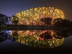 The Bird's Nest (v-_-v) Tags: peking beijingshi china cn birdsnest nationalstadium asia bluehour lights reflection water architecture night mirror travel cityscape building stadium beijing
