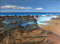 Rocks at Lorne - original oil painting (Marian Pollock) Tags: oilpainting australia lorne rocks sea beach art painting oil victoria original seashore rockpools reflections people blue drawing artwork