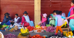 Shopping in Cusco (kate willmer) Tags: market hats clothers shopping colours cusco peru