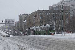 Streetcars in the Snow (III) (imartin92) Tags: boston massachusetts mbta massachusettsbaytransportationauthority greenline b branch trolley train kinkisharyo type7 commonwealthavenue bostonuniversity snow winter