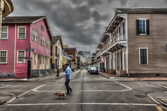 A Small Dog with Big Balls! (D-W-J-S) Tags: clouds hdr hernia dog man crossing road neworleans