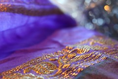 silk sari with gold embroidery (HansHolt) Tags: saree silk zari jari embroidery gold india paithani textile bokeh macro dof canon 6d 100mm canoneos6d canonef100mmf28macrousm macromondays clothtextile hmm