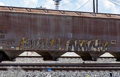 (o texano) Tags: houston texas graffiti trains freights bench benching eulogy navy8 dethkult