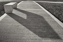 Shadow and bench (Nikon F4s, Kodak Tri-X 400) (alejandro lifschitz) Tags: lifschitz black white blanco negro lightroom photoshop silver efex pro film kodak trix 400 nikon f4 outdoor street photography urban buenos aires argentina hc110 paterson shadows sombras abstract lines monochrome texture diagonal sidewalk bench