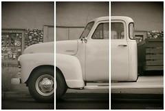 Triptych....HSS!!! (Joe Hengel) Tags: triptych hss happyslidersunday slidersunday slider socal southerncalifornia capistranobeach capobeach bw blackandwhite monochrome theoc goldenstate orangecounty oc outdoor chevrolet chevy pickup truck oldtruck pickuptruck chevypickuptruck