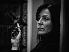 Smoke gets in your eyes (Andy J Newman) Tags: czech portrait silverefex candid street czechrepublic smoke smoking woman lady monochrome d500 nikon prague czechia cz