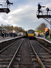20170401_181140 Grosmont - last train of the day to Pickering (SierPinskiA) Tags: nymr grosmont northyorkshiremoorsrailway locomotive royalscot blackfive black5 45212 stanier dmu steam heritagerailway 45407 76079 engine sheds crossing samsunggalaxys7 samsung s7 april april2017