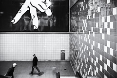 Twos (jgottlieb) Tags: hand sign signage street photography two people men walking link rail station capitol hill seattle wa washington leica mp typ 240 35mm summilux tile wall escalator fingers