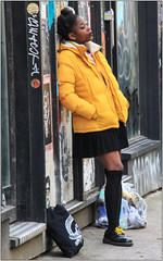 Looking Cool In Yellow (Mabacam) Tags: 2017 london shoreditch students youngpeople pose yellow yellowjacket streetscene