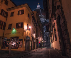 acquainted with the night (cherryspicks (on/off)) Tags: florence italy historic street light night urban city duomo architecture cathedral