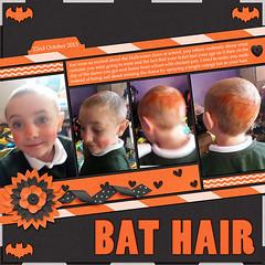 Bat Hair (Lukasmummy) Tags: school cute halloween hair fun disco october funky spray logan chickenpox sick 2013 gottapixel cathyzielske ggi scrappingwithliz jencdesigns