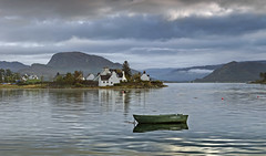 Early morning in Plockton (Katybun of Beverley) Tags: clouds landscape scotland boat scenery village harbour plockton fishingvillage westhighlands