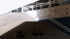 in the shade (pix-4-2-day) Tags: stairs handrail shade sunlight zigzag people couple architecture berlin fernsehturm tvturm alexanderplatz alex treppe zickzack gelnder handlauf schatten sonnenlicht paar menschen architektur pix42day