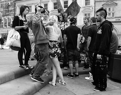 Earth Summit (Andy WXx2009) Tags: city girls urban blackandwhite sexy men boys monochrome beauty statue wales youth women europe punk legs candid femme gothic streetphotography teenagers meeting newport blonde bags brunette talking miniskirt