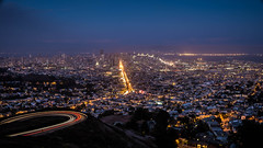 SF Skyline from Twin Peaks (jklim_photography) Tags: sf sanfrancisco city longexposure urban panorama classic skyline night wow landscape lights fuji widescreen twin