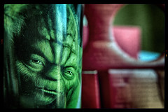 I Am The True Dark Side Of The Force (hbmike2000) Tags: old red green glass starwars nikon mood moody yoda scratches dirty dirt cardboard d200 mad scratched hdr wrinkly odc hbmike2000 wrinklyoldsourpuss notmeyoutwityoda