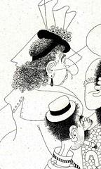 Albert Dubout Album 1944  cartoon  la queue du boucher. detail b