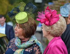 FASCINATING FASCINATORS (simongavin83) Tags: street pink wedding ladies people woman color colour green colors lady women colorful colours bright candid colored colourful persons talking coloured dressed headwear weddingphotography fascinator