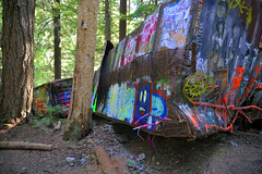 WALK ON THE WILD SIDE (A JOURNEY TO THE TRAIN WRECK AT FUNCTION JUNCTION, BC)  (25) (DESPITE STRAIGHT LINES) Tags: trip trees vacation holiday canada tree art tourism nature beauty forest train whistler graffiti artwork woods woodlands flickr bc artistic accident hiking walk britishcolumbia decay scenic roadtrip september foliage damage gondola boxcar wreck naturalbeauty mothernature boxcars paulwilliams whistlermountain functionjunction peak2peak despitestraightlines ilobsterit whistlerblackcombvillage thecrystallodge thecrystallodgewhistler olivescommunitymarket olivescommunitymarketwhistler thetrainwreckwhistler trainwrecknearwhistler trainwreckinwhistlerbc thetrainwreckatfunctionjunction functionjunctionwhistler thetrainwrecknearfunctionjunction
