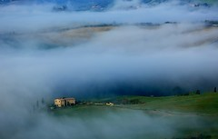 Appearance ~   Advection fog @  Pienza, Val d'Orcia, Tuscany  ( Toscana ) , Italy  ()  ~ (PS~~) Tags: travel trees sky italy sun sunlight house holiday color tree green nature field grass yellow horizontal comfortable clouds canon landscape outdoors photography florence cozy corn europa europe italia european day afternoon wheat slide nopeople farmland unesco worldheritagesite growth val tuscany fields cypress siena prairie pienza sangimignano toscana valdorcia grassland range rollinghills cypresstrees scenics nationalgeographic whs cretesenesi agriturismo  seaofclouds tranquilscene dorcia weat  traveldestinations colorimage  beautyinnature sanquiricodorcia  latoscana  etruscancivilization  thecypressgroove medicivillasandgardens