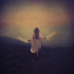 finding your way (brookeshaden) Tags: cloud mist selfportrait rain fog hawaii feathers surreal maui crater whimsical nightgown fineartphotography 10000feet conceptualphotography girlrunning fairytalephotography brookeshaden