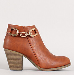 "chain strap chunky heel ankle bootie 100 cognac • <a style=""font-size:0.8em;"" href=""http://www.flickr.com/photos/64360322@N06/15373396240/"" target=""_blank"">View on Flickr</a>"