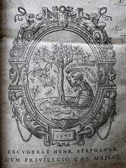 Frontispiece (Mamluke) Tags: uk england detail tree broken illustration paper buch manchester typography book words boek opera unitedkingdom library scrollwork text libro talk philosophy calvin page font knowledge cape socrates papel gesture talking papier plato figures sleeve livre carta scroll treeofknowledge oval mots cherubs romans palabras illustratie grafted larbre parole 16thcentury ilustración estienne frontispiece grafts apologia repaired texte sixteenthcentury woorden illustrazione abbildung jonson mamluke beza 1578 serranus chetham chethamslibrary benjonson theodorebeza platonis jeandeserres henriestienne dicesergodefractisuntramiutegoinsererer romans1119 defractisuntramiutegoinsererer
